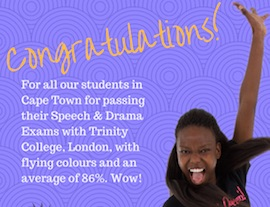 86 percent average for Trinity College, London, examinations in Cape Town - South Africa