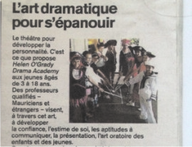 Wow! Helen O'Grady Drama Academy gets newspaper coverage in French! - Mauritius